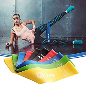 Limm Exercise Resistance Loop Bands - Set of 5, 12-inch Workout Bands - Best for Stretching, Physical Therapy, Yoga and Home Fitness - Bonus eBook, Instruction Manual, Online Videos & Carry Bag