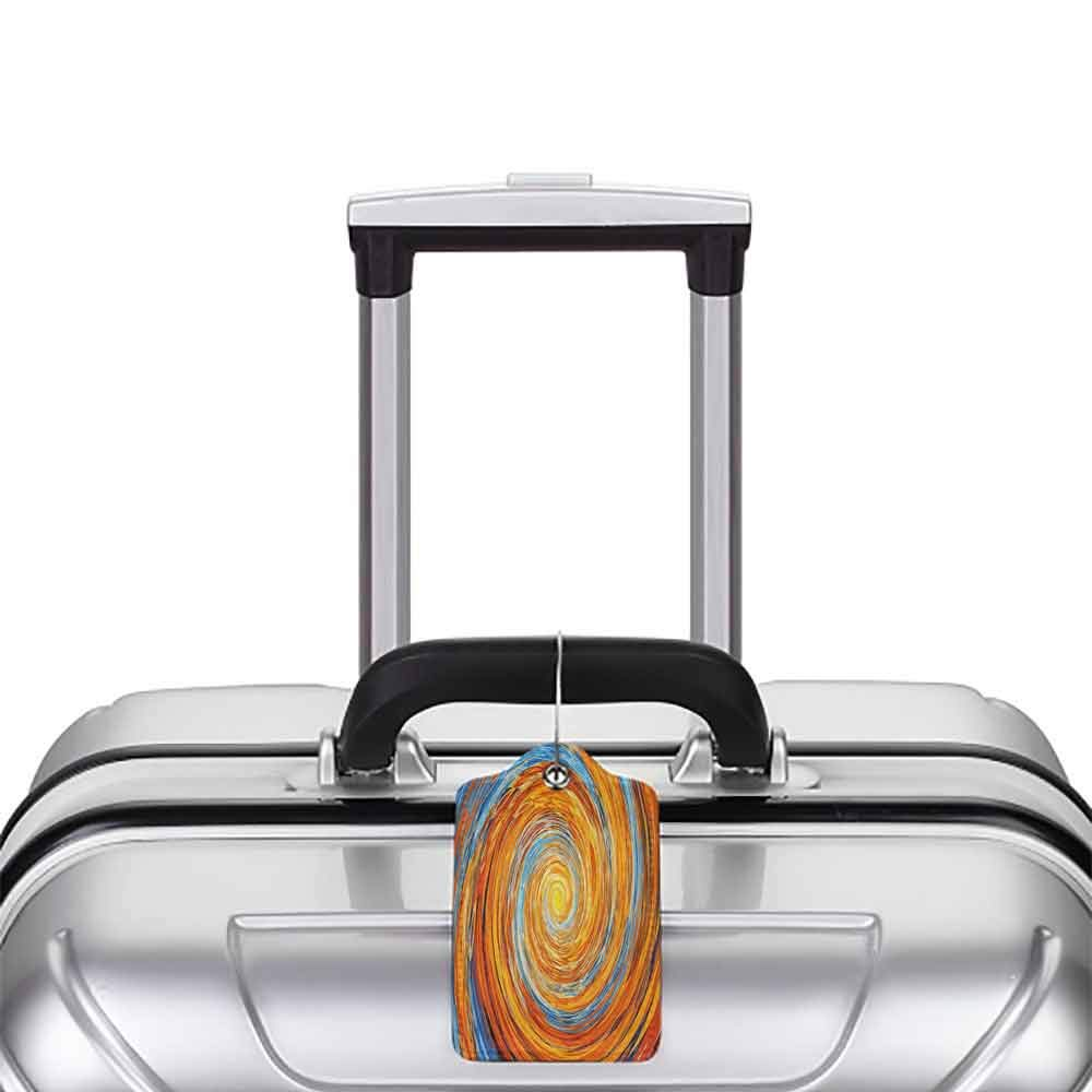 Multicolor luggage tag Fractal Hippie Style Vortex Spiral Rotary Colorful Chaotic Unusual Turning Contrast Design Hanging on the suitcase Orange Blue W2.7 x L4.6