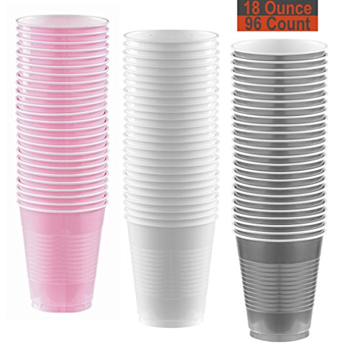 18 oz Party Cups, 96 Count - Light Pink, White, Silver - 32 Each Color