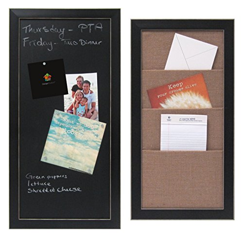 Set of Wyeth Framed Magnetic Chalkboard and Wyeth Framed Burlap Pockets