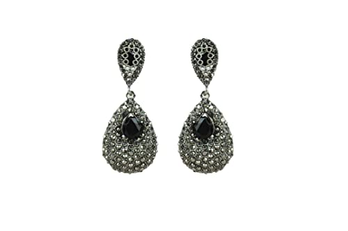 fc144fd51 Buy Ankur silver designer black polis black stone earrings party wear for  women Online at Low Prices in India