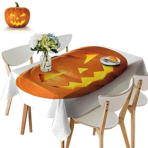 UHOO2018 Fitted Polyester Tablecloth   Scary Jack O Lantern Halloween Pumpkin with Candle Light Inside,d Render Square/Rectangle Washable for Tablecloth,52 x 70inch]()