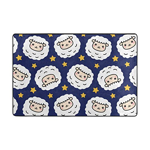 Cute Stars Lamb Sheep Animals Personalized Welcome Doormat Door Mat Dog Placemat Machine Washable Rug 24 x16 Inch / 40 X 60cm