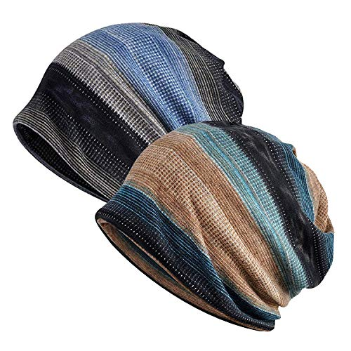 Zando Womens Beanie Hat Knit Striped Slouchy Cap Mens Thin Soft Stylish Hip-hop Headwraps Cap Chemo Caps for Women Baggy Sleep Cap 2 Pack Blue Grey Camel Blue