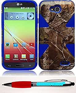 Accessory Factory(TM) Bundle (the item, 2in1 Stylus Point Pen) For LG L90 Dynamic Slim Hybrid Cover Case - Camouflage+Blue
