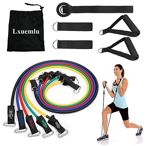 【2019 Upgraded】 Resistance Bands Set with Handles, Door Anchor, Ankle Straps and Workout Guide - Lxuemlu Exercise Bands for Men Women Resistance Training, Home Workouts - 100% Life Time Guarantee