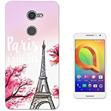 002412 - Eiffel Tower Vintage Shabby Chic Roses Fleur Girly Paris Design alcatel A3 XL 6inch CASE Gel Silicone All Edges Protection Case Cover