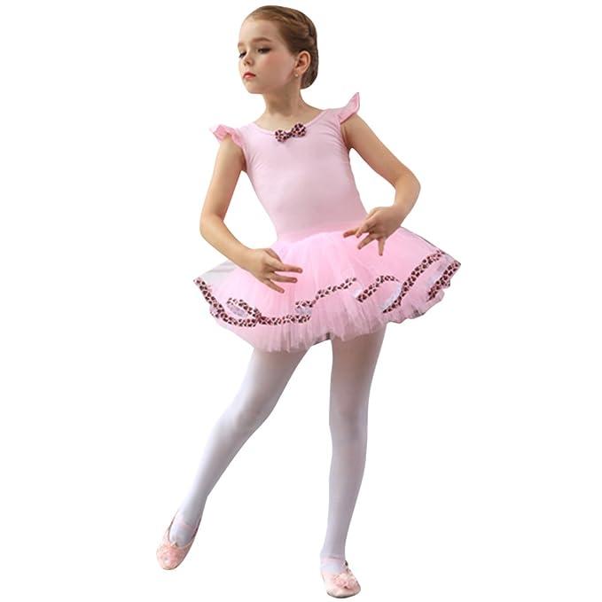 2c4615cee5a7 OBEEII Girls Ballet Tutu Dress Fly Sleeve Backless Leotard Skirt Leopard  Ballerina Performance Dancewear Fairy Princess