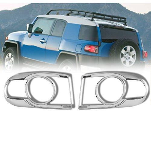 07 Chrome Tail Light Cover (E-Autogrilles Triple Chrome Plated Tail Light Trim Bezel Kit Cover for 07-14 Toyota FJ Cruiser (67-0503))