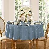 Newbridge Elegance Plaid Christmas Fabric Tablecloth, 100% Polyester, No Iron, Soil Resistant Holiday Tablecloth, 90 Inch Round, Shadow Blue