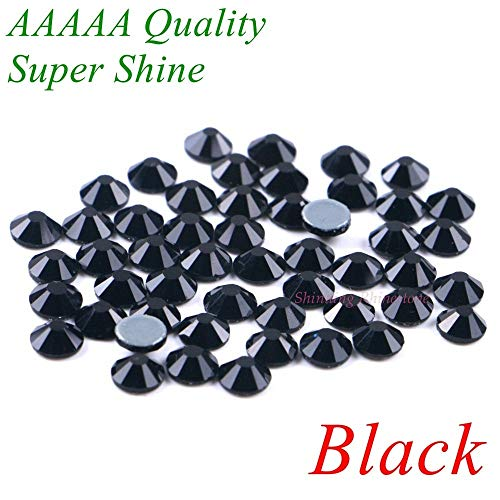 Supre Colour - Pukido AAAAA Luxury Hotfix Rhinestone Black Color SS4 to SS30 Glass Crystals Flatback Iron On Hot Fix Rhinestones Supre Shine! - (Color: SS8 1440pcs)