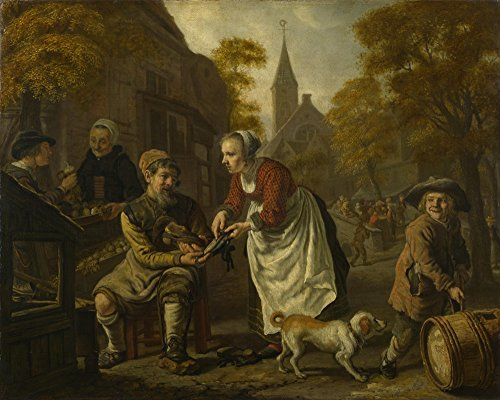 the-museum-outlet-jan-victors-a-village-scene-with-a-cobbler-stretched-canvas-gallery-wrapped-16x20