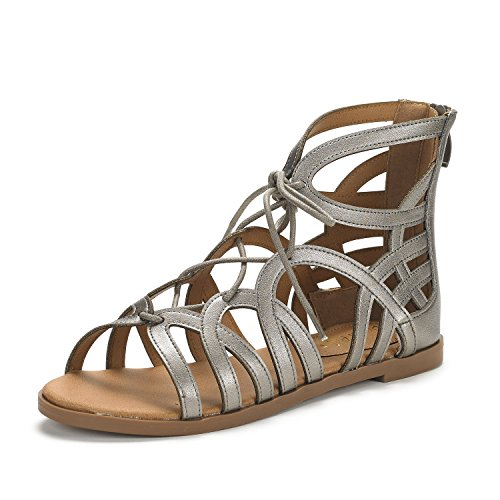 Open Flat Gladiator Cesar Women's PAIRS Pewter Sandals Toe DREAM nwxp6HvH