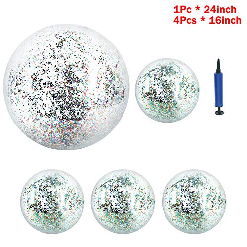 Omigga 5 Pieces Glitter Beach Ball Inflatable Confetti Beach Ball, 1 Pcs Air Pump for Summer Beach Play and Pool Party (16 Inch- 4 Pieces, 24 Inch-1 Piece)