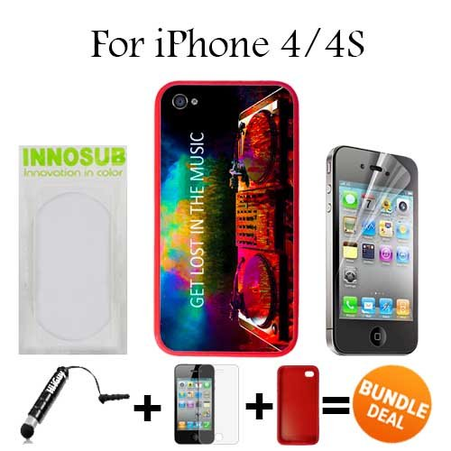Get Los in Music EDM Custom iPhone 4 Cases/4S Cases-Red-Rubber,Bundle 3in1 Comes with HD Screen Protector/Universal Stylus Pen by innosub