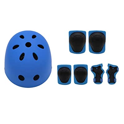 7Pcs/Set Kids Helmet Knee Elbow Wrist Pads Kit for Bike Skateboard Roller Bicycle Sports HV99 Outdoor Protector (Color : 1): Home & Kitchen