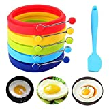 Tebery 5 Pack Silicone Egg Rings Make Perfectly Round Fry Eggs or Pancakes Professional Non-Stick BPA-Free Silicone-5 Color, with One-Piece Silicone Spatula