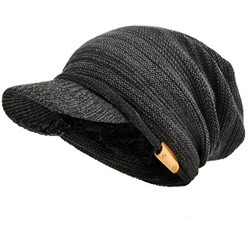VECRY Men's Oversize Slouch Beanie Slouchy Skullcap Large Baggy Hat (Visor-Dgrey) ()
