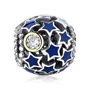 Swarovski Elements Crystal Star Pave 925 Sterling Silver Round Bead Charms fit Pandora Charm Bracelet