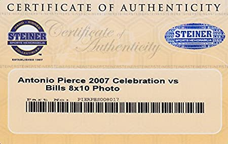 f14a2e07 ANTONIO PIERCE SIGNED 8x10 NY GIANTS vs BUFFALO BILLS CELEBRATION ...