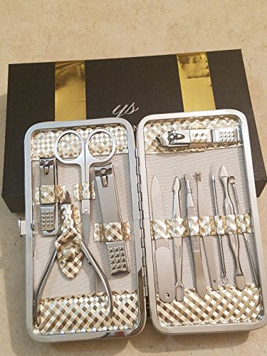 Amazing Professional Manicure Travel Set for men and women. 12 pieces kit of Stainless steel manicure & Pedicure clipping and trimming tools in an attractive Beautiful gold metallic case. by Y.S. organize