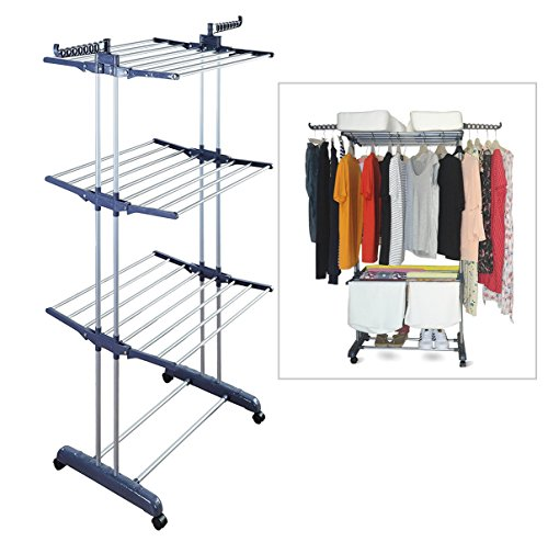 Dream Clothing Garment Rack - Freestanding Closet - Rolling Clothes Rack Heavy Duty - Durable Steel Clothes Airer - 6 Foldable Drying Rack for Laundry Sweaters Indoor - Grey