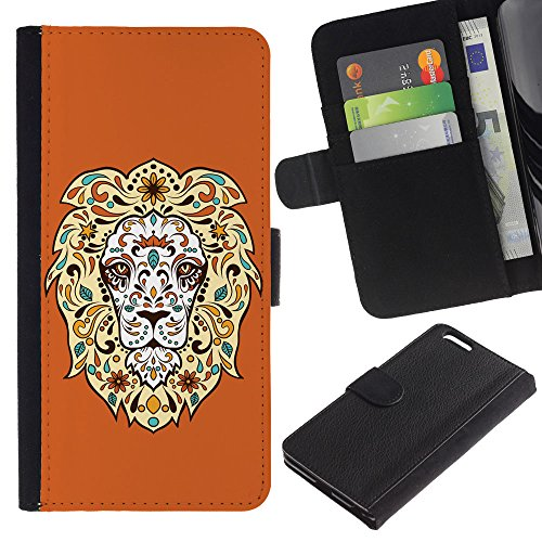 EuroCase - Apple Iphone 6 PLUS 5.5 - Cool Awesome Floral Lion - Cuir PU Coverture Shell Armure Coque Coq Cas Etui Housse Case Cover