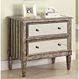 Powell Antique Silver and Black Crackle 2-Drawer Mirrored Console
