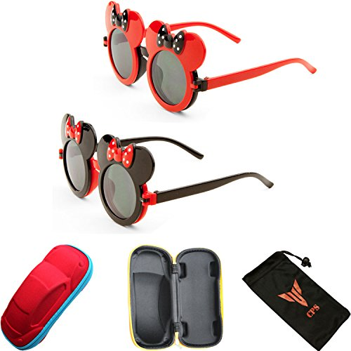 2 Pairs Kid Cute Colored Mouse Ears Flip Up Sunglasses Clear Blk Lens Mickey Minnie Bow
