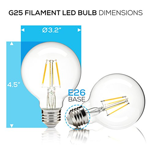 Ecosmart 40w Equivalent Soft White G25 Dimmable Filament: Hyperikon G25 LED Vintage Filament Bulb, Dimmable, 5W (40W