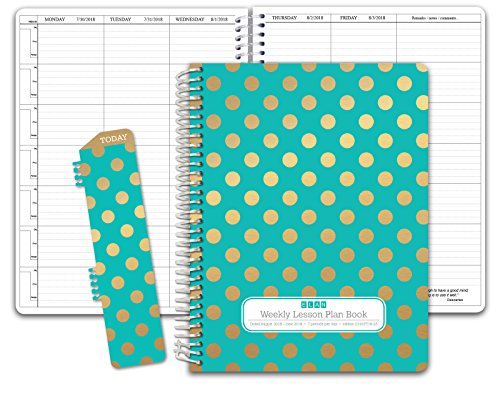 HARDCOVER 7 Period DATED Teacher Lesson Plan; Days Horizontally Across the Top Dated for 2018-2019 Academic Year (D101) (+) Bonus Clip-in Bookmark (Gold Dots Turquoise) - Teachers Daily Record Book