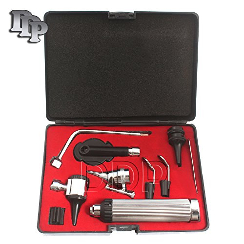 DDP NEW PREMIUM 3.2V BRIGHT WHITE LED OTOSCOPE SET INCLUDES DISPOSABLE SPECULA ADAPTOR AND 3 SIZES OF REUSEABLE SPECULA PLUS BEAUTIFULL CASE+3 FREE REPLACEMENT BULBS by DDP (Image #1)