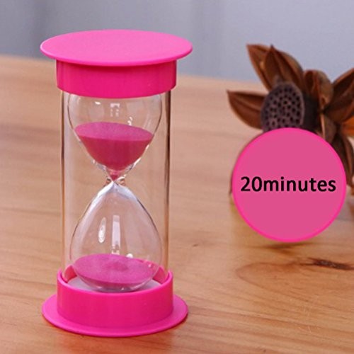 Sand Timer Sandy Clock, iPhyhe Hourglass 20 minutes as Gift with Pink Lids (Pink Sand)