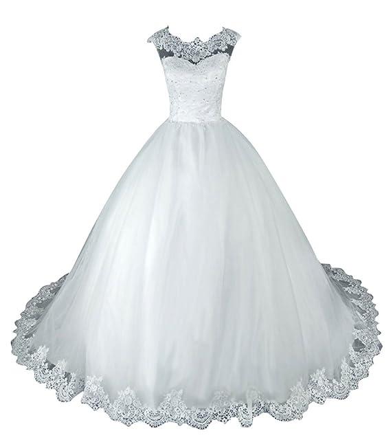 JAEDEN Vestidos de Novia Vestido de Boda Vintage Mujer Largo Vestido de Encaje para la Novia