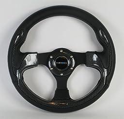 NRG Steering Wheel - 01 (Pilota) - 320mm (12.60 inches) - Black Leather with Black Spokes / Carbon Fiber Look Trim - Part # ST-001R-CBL