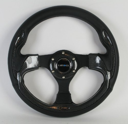 NRG Steering Wheel - 01 (Pilota) - 320mm (12.60 inches) - Black Leather with Black Spokes/Carbon Fiber Look Trim - Part # ST-001R-CBL (Carbon Fiber Spokes)