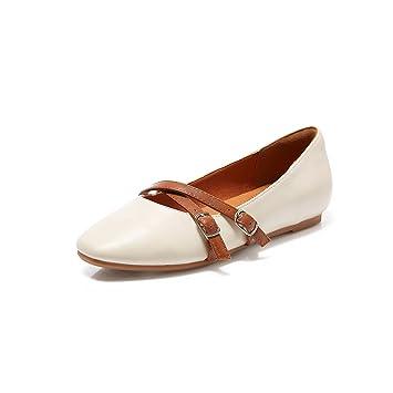 YQQ Zapatos Planos Zapatos De Mujer Sandalias De Verano PU Aldaba Zapatos Perezosos Zapatos De Boca