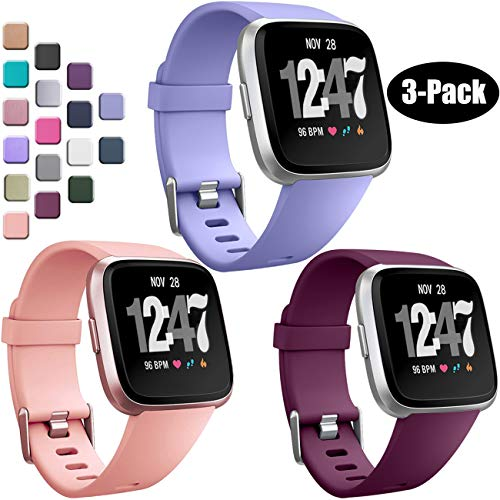 Wepro Bands Compatible with Fitbit Versa SmartWatch, Watch Replacement Band for Women Men Kids, Small, 3 Pack, Peach, Periwinkle, Fuschia