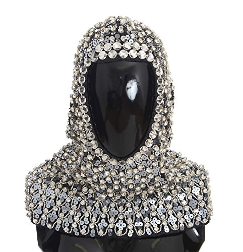 Dolce & Gabbana - Gray Wool Crystal Sequined Hood Scarf Hat