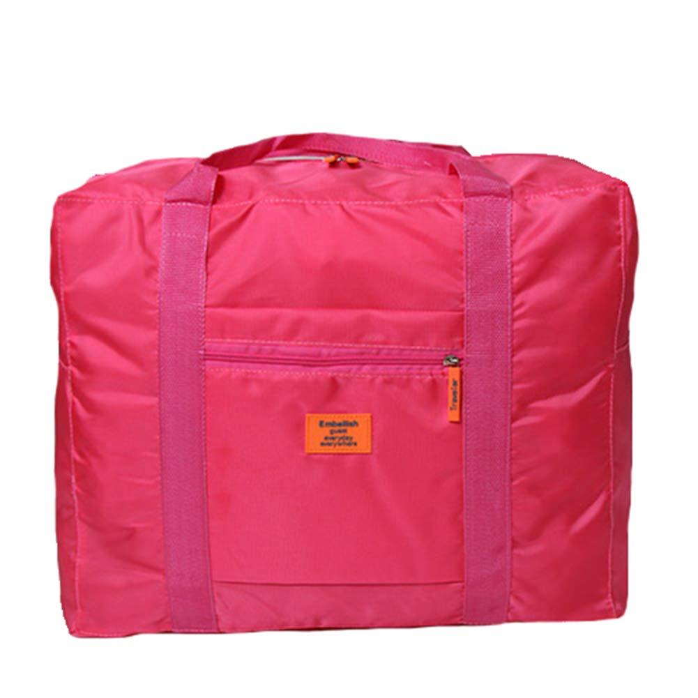 Foldable Travel Tote Duffel Bag Lightweight Travel Bag Weekend Waterproof Large Capacity Storage Luggage Organizer (Rose)