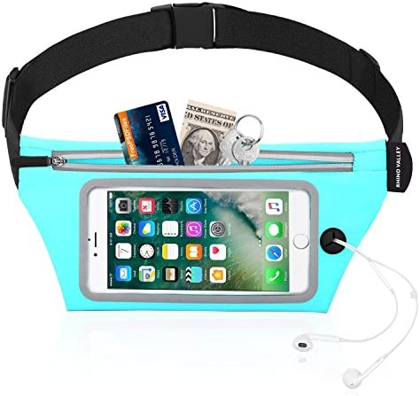 Rhino Valley Sports Running Belt, Water Resistant Waist Pack, Fitness Workout Fanny Pack Phone Pouch Holder Compatible with iPhone 11 11 Pro Max X Xr Xs Xs Max 8 7, Galaxy Note 10 10 Plus 9 S10 S10e