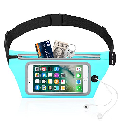Rhino Valley Sports Running Belt, Water Resistant Waist Pack, Fitness Workout Fanny Pack Phone Pouch Holder Compatible with iPhone X/Xr/Xs/Xs Max/8/7/6S Plus, Galaxy S10/S10e/S9/S8 Plus/Note 9/8