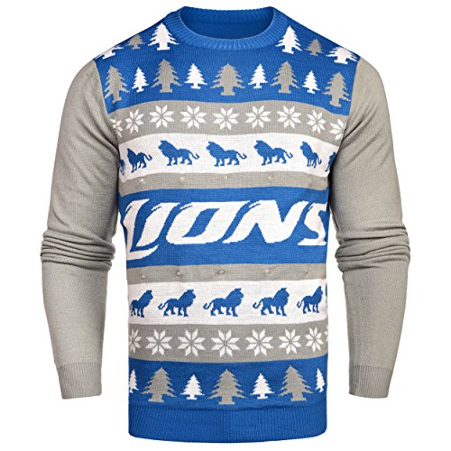 NFL Detroit Lions Unisex NFL Light-Up One Too Many Ugly Sweater, Large