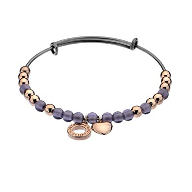 Emozioni Polished Beads Stainless Steel Bangle bedBQXO