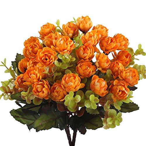 GTidea 2pcs Artificial Flowers Bouquets 15 heads Silk Mini Chrysanthemum Buds Bridal DIY Home Table Party Wedding Kitchen Faux Floral Arrangements Decor Orange