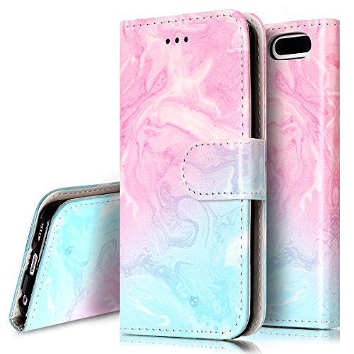 iPod Touch 6 Case,iPod Touch 5 Case, PHEZEN iPod Touch 6th / 5th Generation Wallet Case - Elegant Pink Green Marble Design PU Leather Flip Cover Stand Folio Protective Cover Case with Card Slot