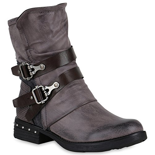 Stiefelparadies Damen Stiefeletten Biker Boots Leicht Gefütterte Stiefel  Bikerstiefel Schnallen Leder-Optik Schuhe Nieten Booties ... 8cffaaccc1