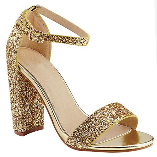 Chunky heels gold - StoreIadore