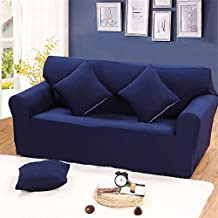 Elastic Sofa Solid Color Full cover Anti-skid 3 Seater Protector Couch Cover Armchair Slipcover Home Decor Stretch Sofa Cover Removable Navy