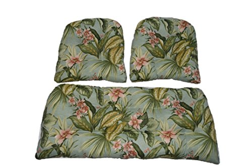 (3 Piece Wicker Cushion Set - Indoor / Outdoor Wicker Loveseat Settee & 2 Matching Chair Cushions - Jamaican Mist Tropical Floral)